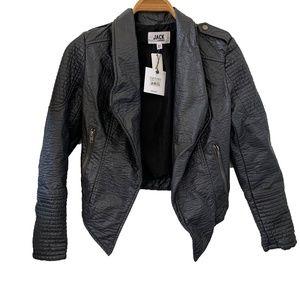 Forged Iron Draped Faux Leather Moto Jacket